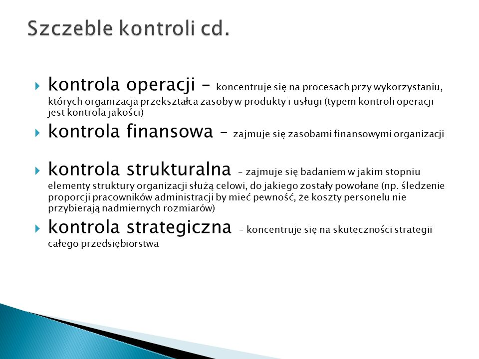 Szczeble kontroli cd.
