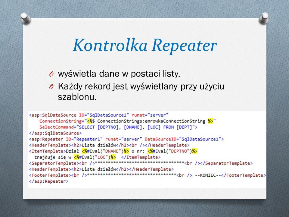 Kontrolka Repeater wyświetla dane w postaci listy.