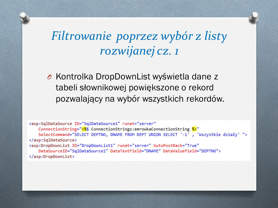 Filtrowanie poprzez wybór z listy rozwijanej cz. 1