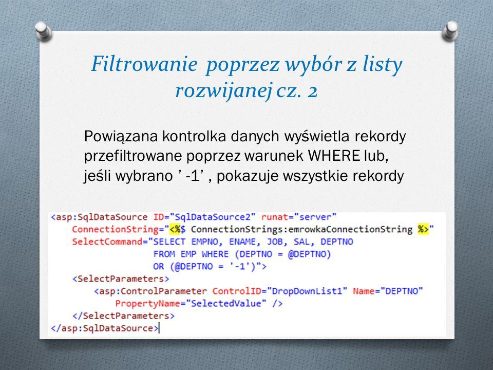 Filtrowanie poprzez wybór z listy rozwijanej cz. 2
