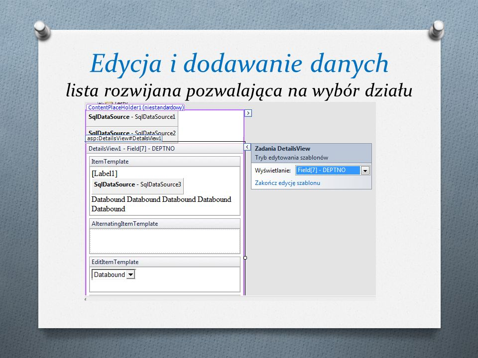 Edycja i dodawanie danych lista rozwijana pozwalająca na wybór działu