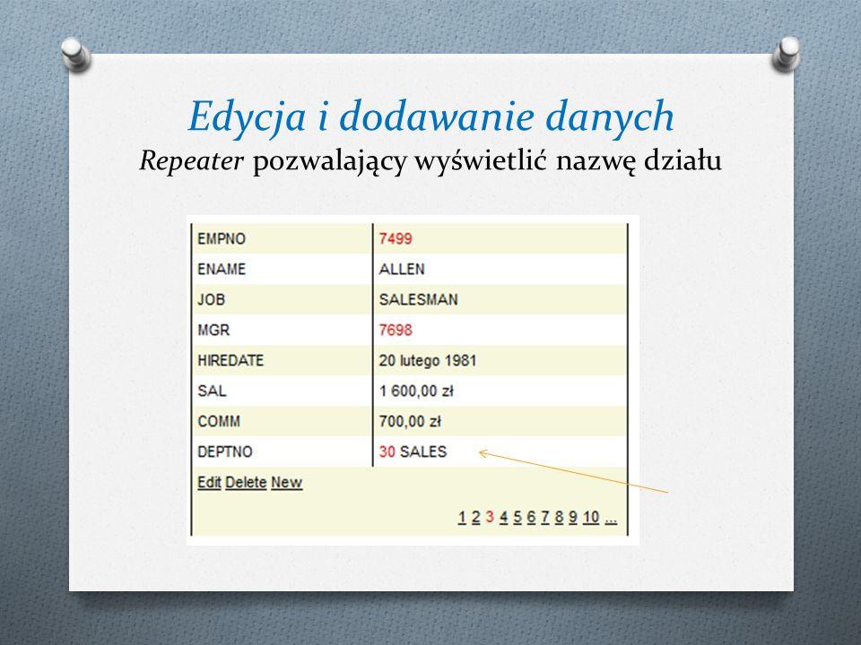 Edycja i dodawanie danych Repeater pozwalający wyświetlić nazwę działu