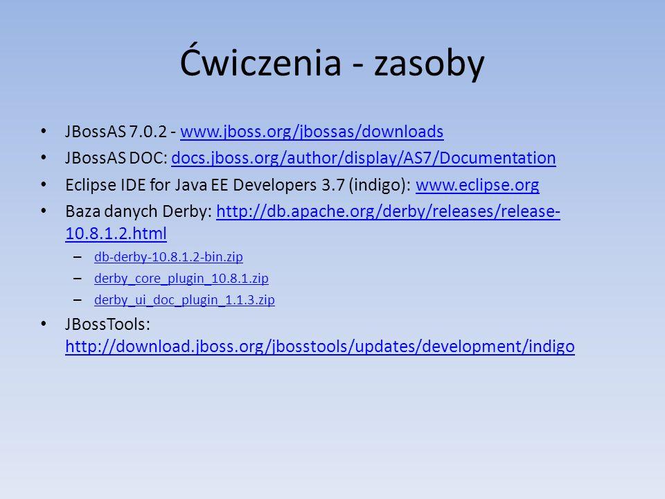Ćwiczenia - zasoby JBossAS 7.0.2 - www.jboss.org/jbossas/downloads