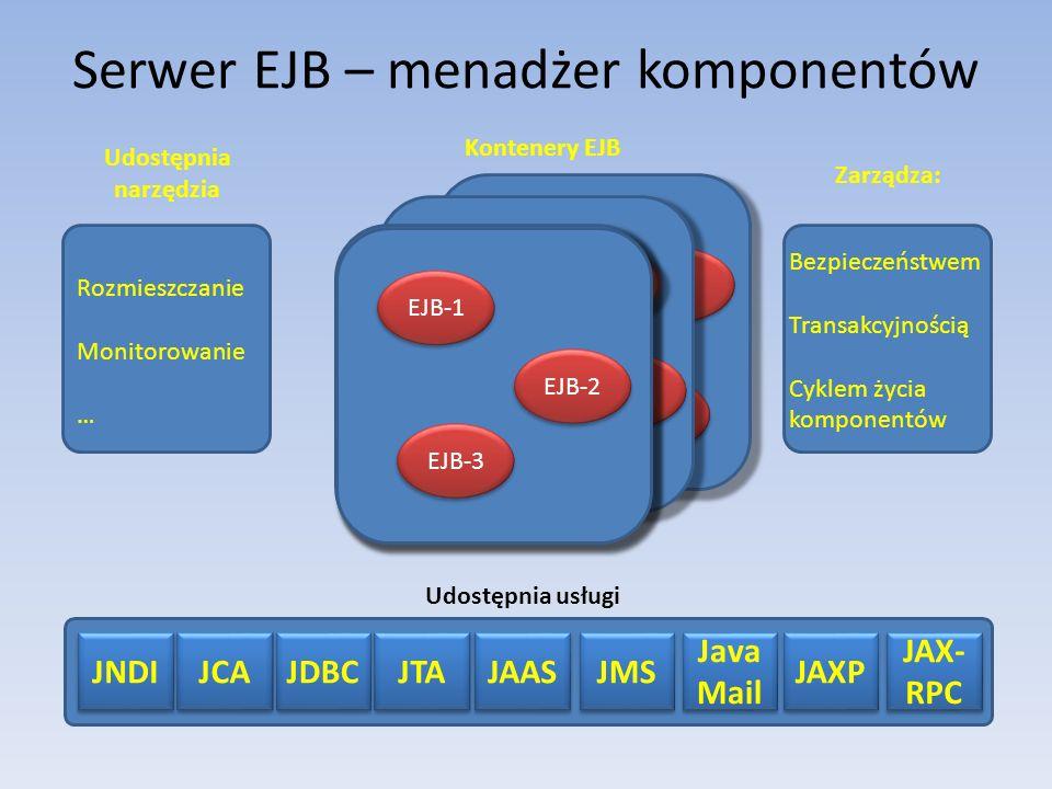 Serwer EJB – menadżer komponentów
