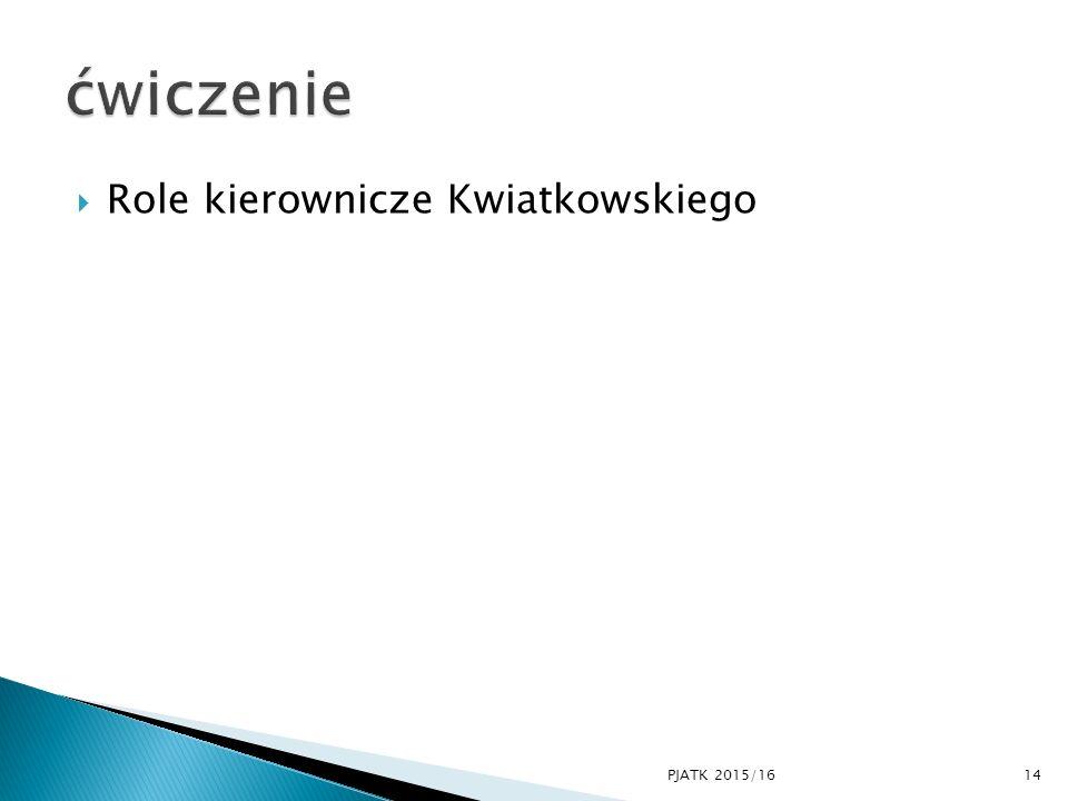 ćwiczenie Role kierownicze Kwiatkowskiego PJATK 2015/16