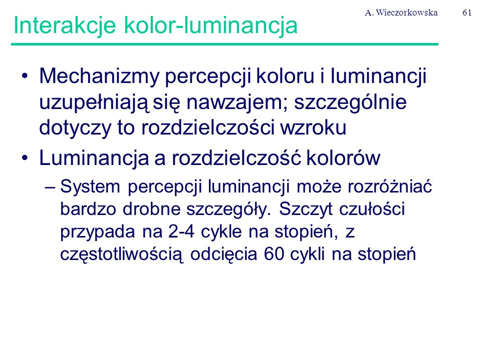 Interakcje kolor-luminancja