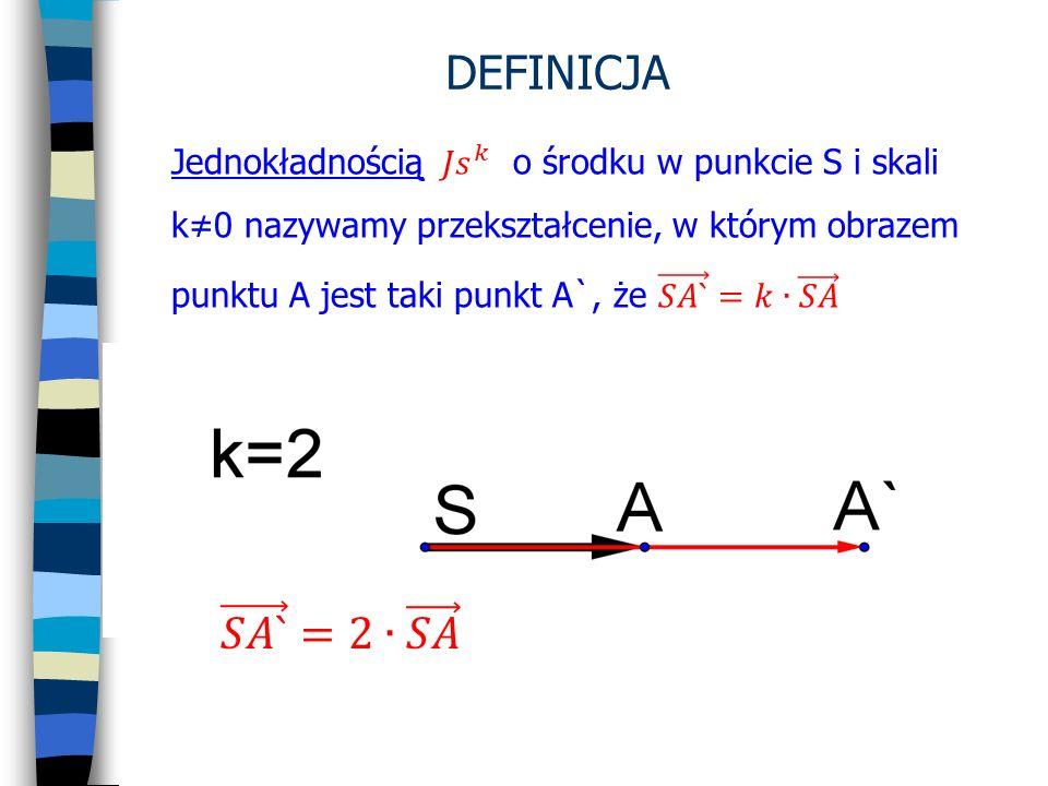 DEFINICJA Jednokładnością 𝐽𝑠 𝑘 o środku w punkcie S i skali k≠0 nazywamy przekształcenie, w którym obrazem.