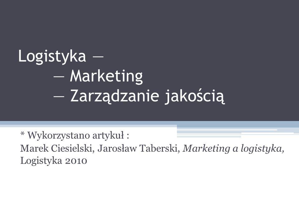 Logistyka — — Marketing — Zarządzanie jakością