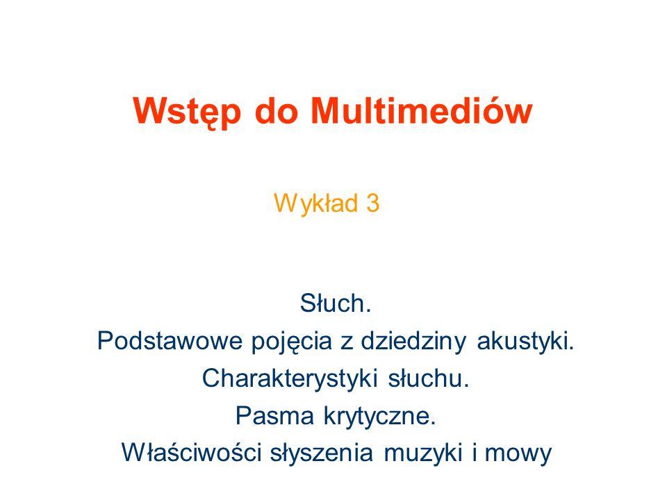 Wstęp do Multimediów Wykład 3 Słuch.