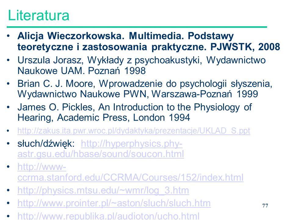 Literatura Alicja Wieczorkowska. Multimedia. Podstawy teoretyczne i zastosowania praktyczne. PJWSTK, 2008.