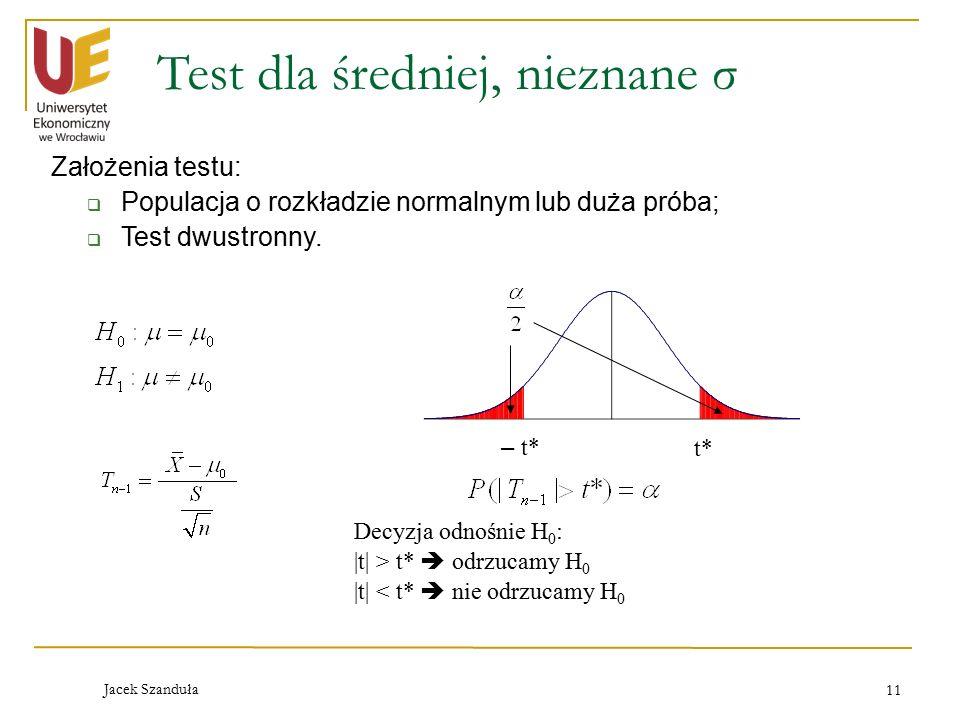 Test dla średniej, nieznane σ
