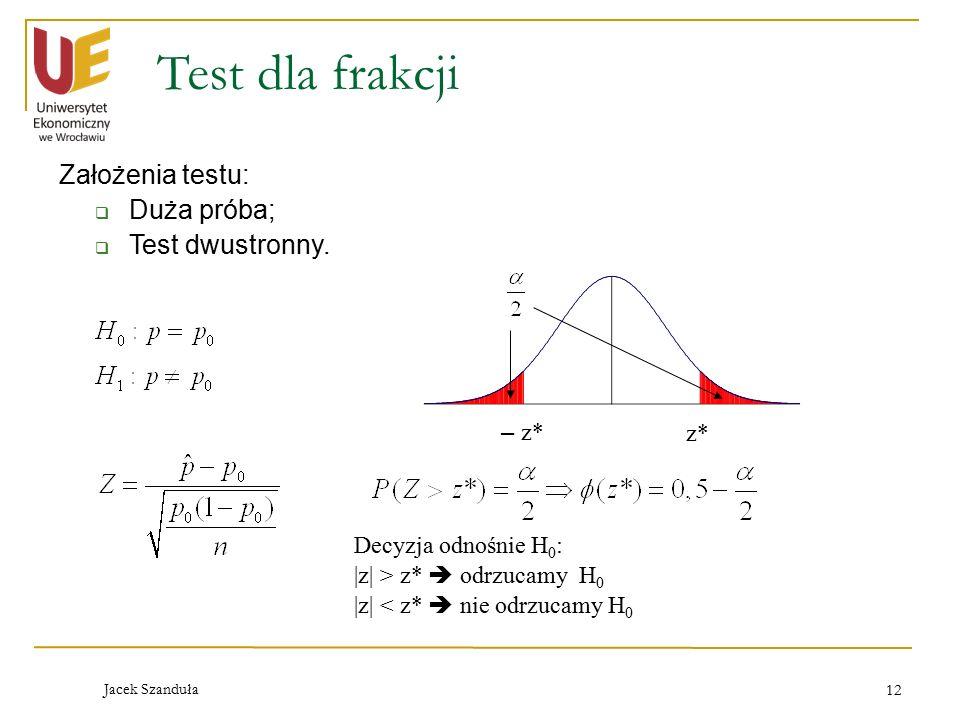 Test dla frakcji Założenia testu: Duża próba; Test dwustronny. – z* z*