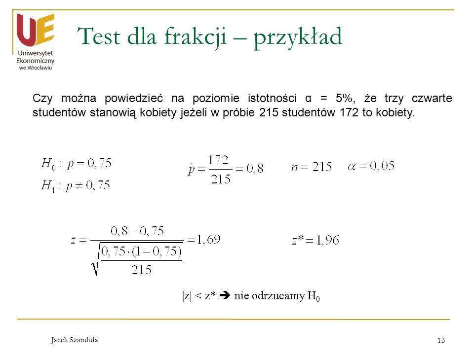 Test dla frakcji – przykład
