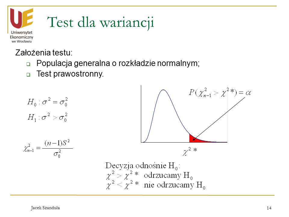 Test dla wariancji Założenia testu: