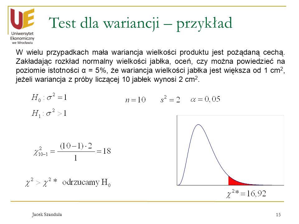 Test dla wariancji – przykład