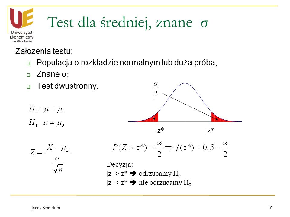 Test dla średniej, znane σ