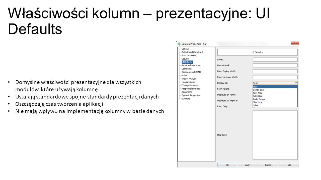 Właściwości kolumn – prezentacyjne: UI Defaults