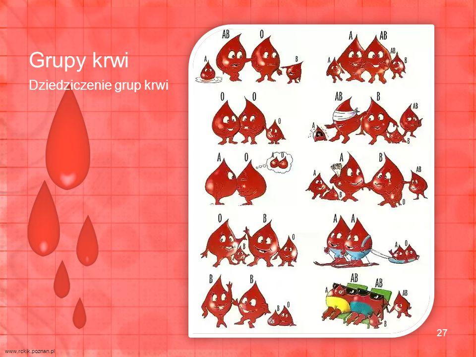 Grupy krwi Dziedziczenie grup krwi www.rckik.poznan.pl