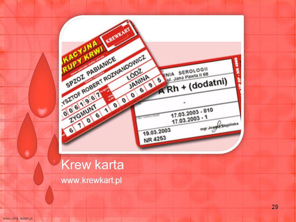 Krew karta www.krewkart.pl www.rckik.radom.pl