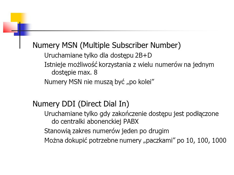 Numery MSN (Multiple Subscriber Number)