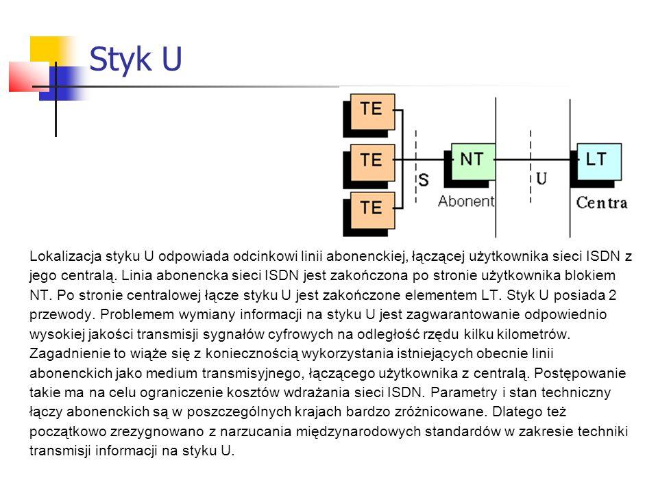 Styk U Lokalizacja styku U odpowiada odcinkowi linii abonenckiej, łączącej użytkownika sieci ISDN z.