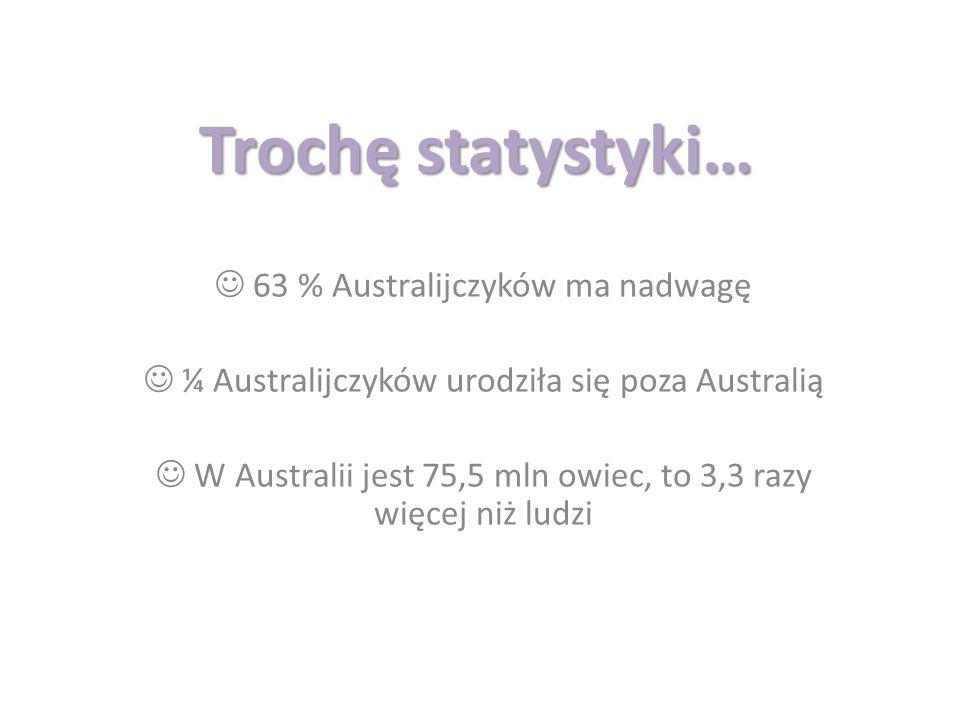 Trochę statystyki…  63 % Australijczyków ma nadwagę