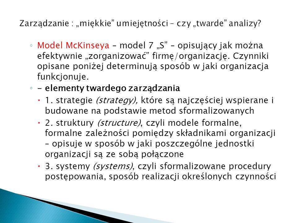 """Zarządzanie : """"miękkie umiejętności – czy """"twarde analizy"""