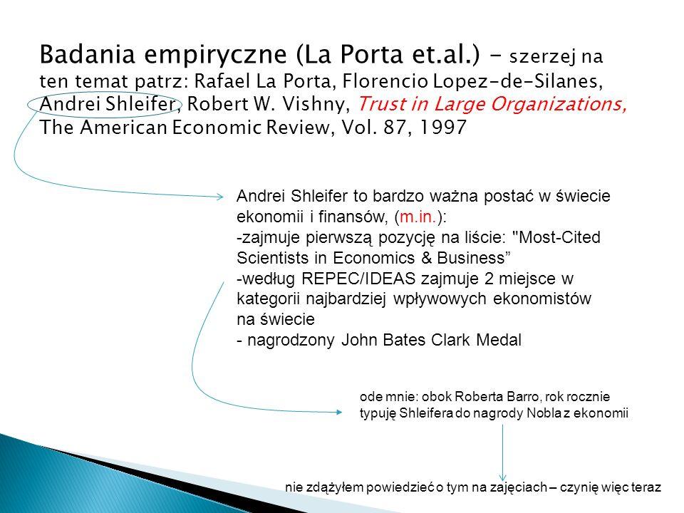 Badania empiryczne (La Porta et. al