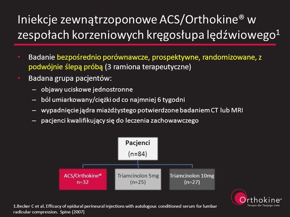 Iniekcje zewnątrzoponowe ACS/Orthokine® w zespołach korzeniowych kręgosłupa lędźwiowego1