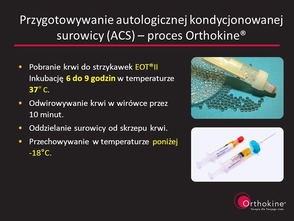 Przygotowywanie autologicznej kondycjonowanej surowicy (ACS) – proces Orthokine®