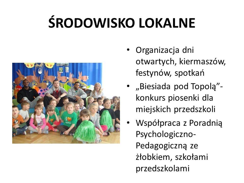 """ŚRODOWISKO LOKALNE Organizacja dni otwartych, kiermaszów, festynów, spotkań. """"Biesiada pod Topolą - konkurs piosenki dla miejskich przedszkoli."""