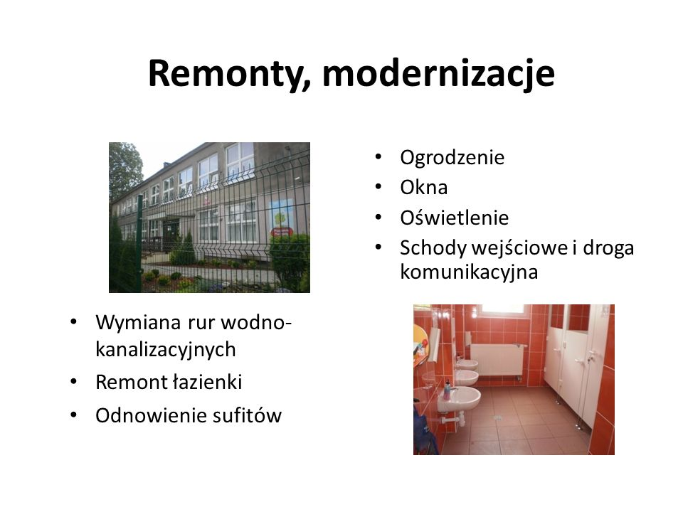 Remonty, modernizacje Ogrodzenie Okna Oświetlenie