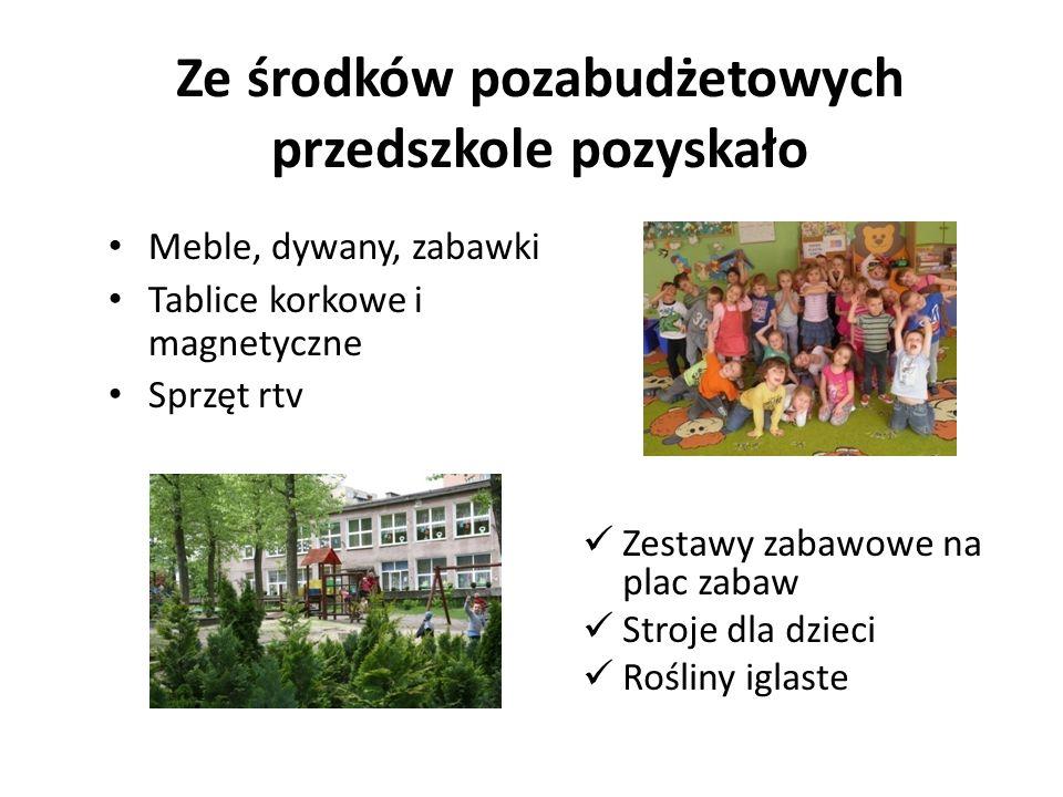 Ze środków pozabudżetowych przedszkole pozyskało