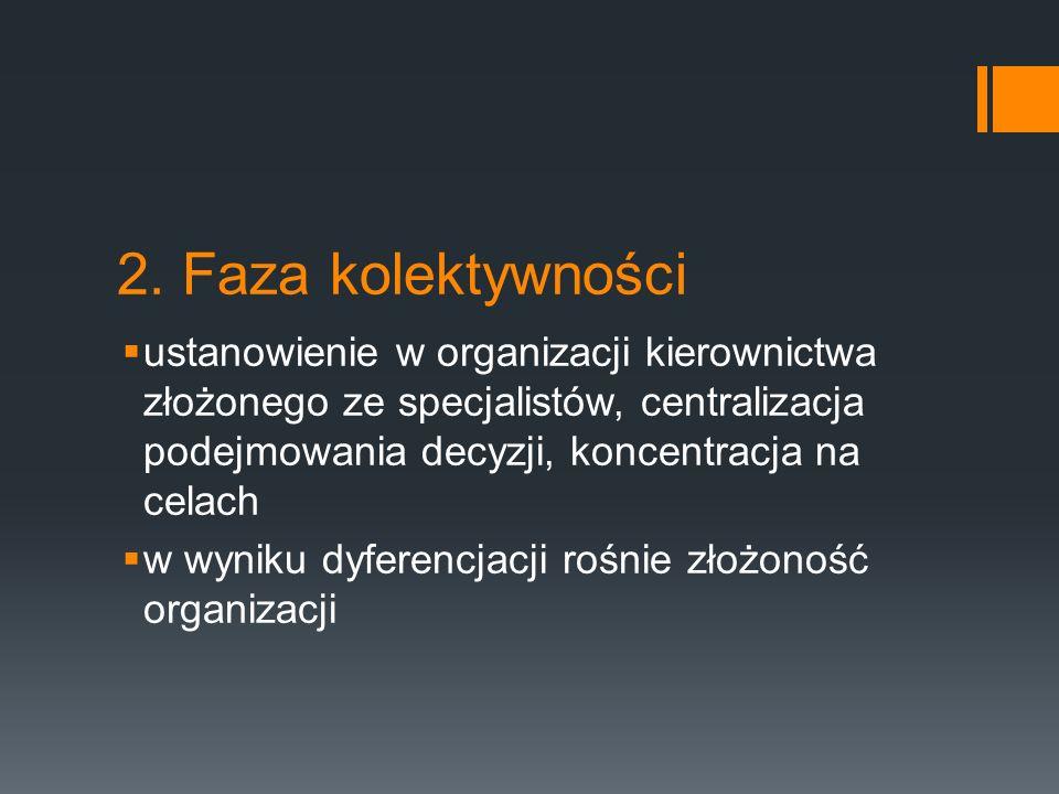 2. Faza kolektywności ustanowienie w organizacji kierownictwa złożonego ze specjalistów, centralizacja podejmowania decyzji, koncentracja na celach.