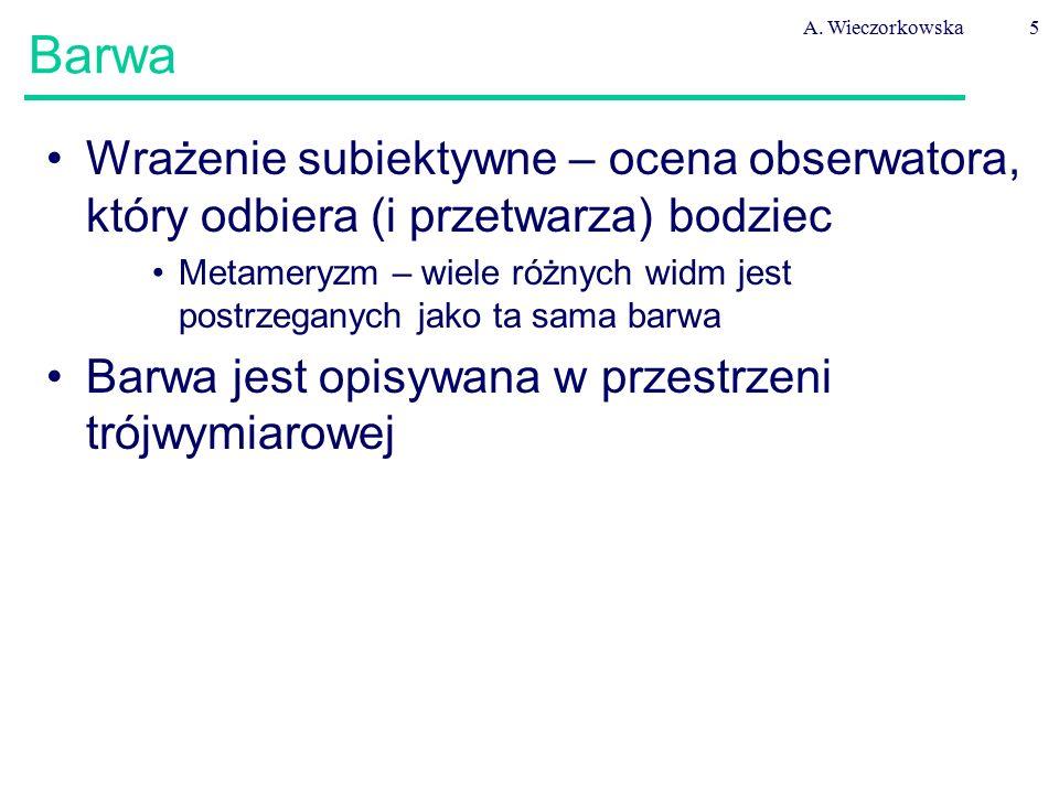 A. Wieczorkowska Barwa. Wrażenie subiektywne – ocena obserwatora, który odbiera (i przetwarza) bodziec.