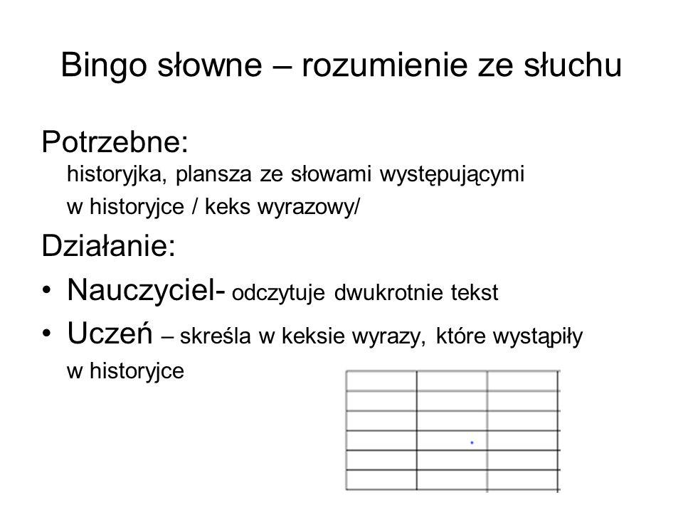 Bingo słowne – rozumienie ze słuchu