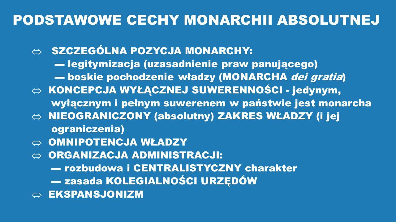 PODSTAWOWE CECHY MONARCHII ABSOLUTNEJ