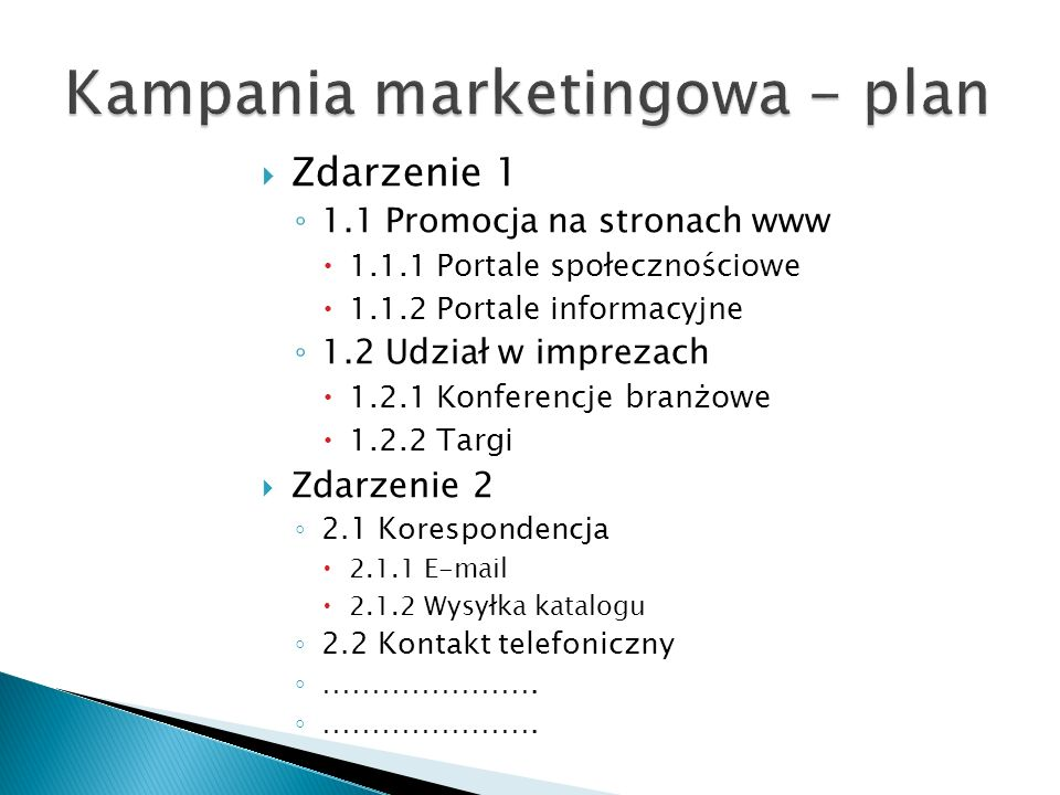 Kampania marketingowa - plan