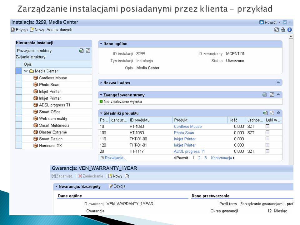 Zarządzanie instalacjami posiadanymi przez klienta - przykład