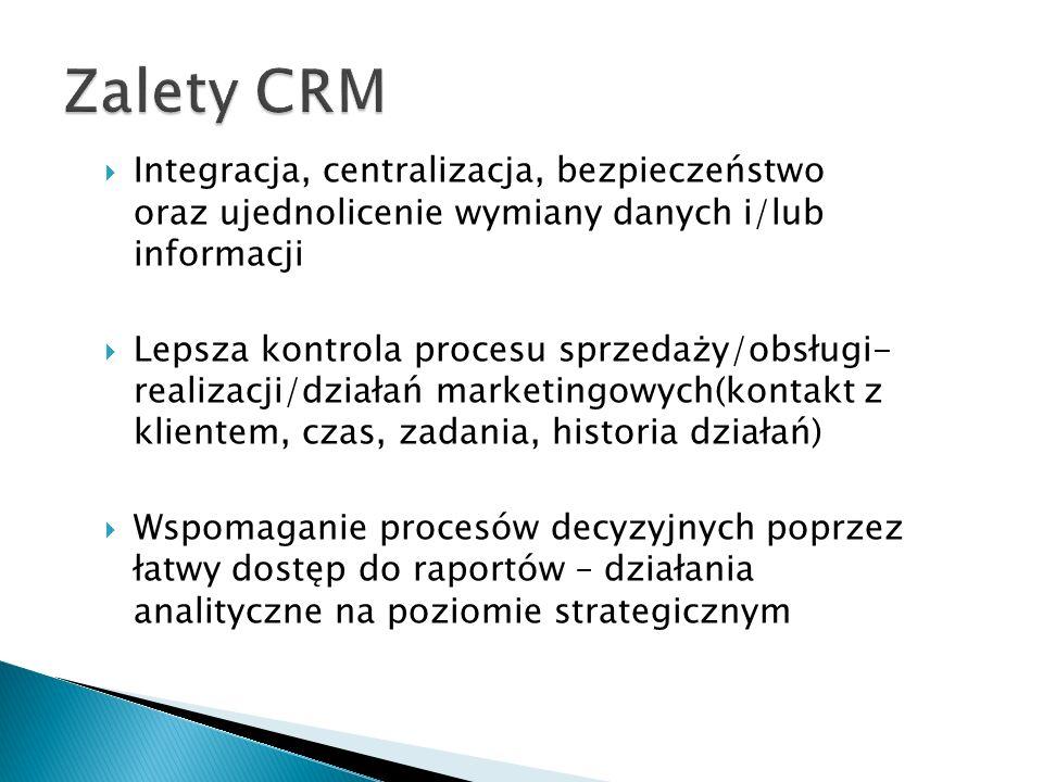 Zalety CRM Integracja, centralizacja, bezpieczeństwo oraz ujednolicenie wymiany danych i/lub informacji.