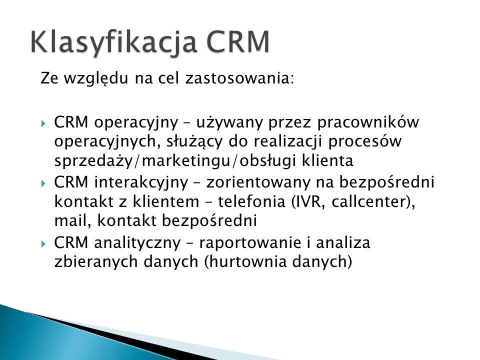 Klasyfikacja CRM Ze względu na cel zastosowania:
