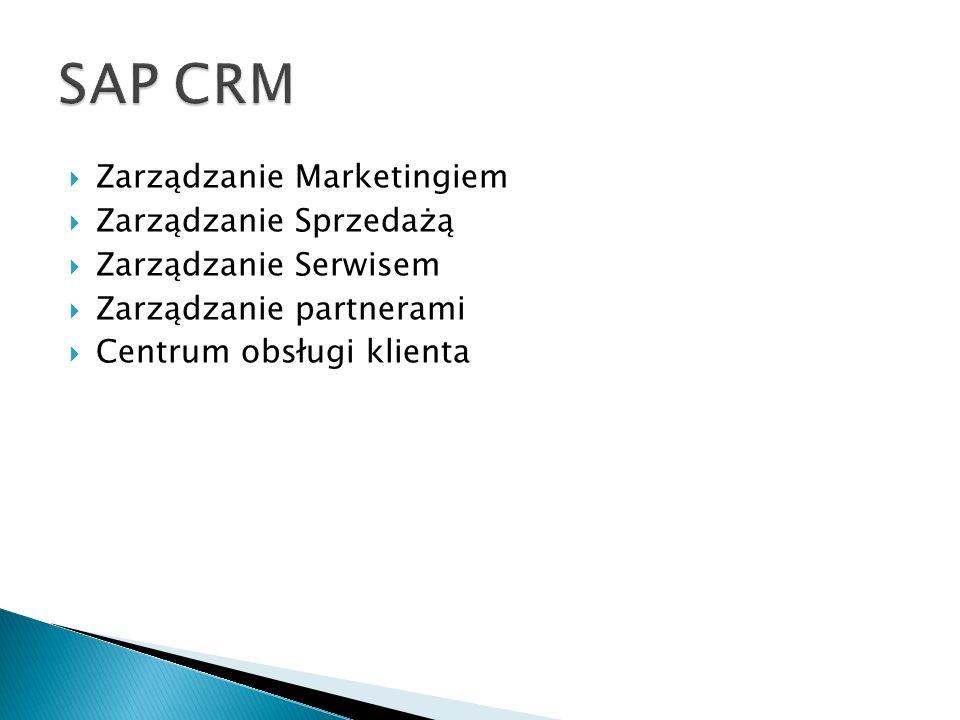 SAP CRM Zarządzanie Marketingiem Zarządzanie Sprzedażą