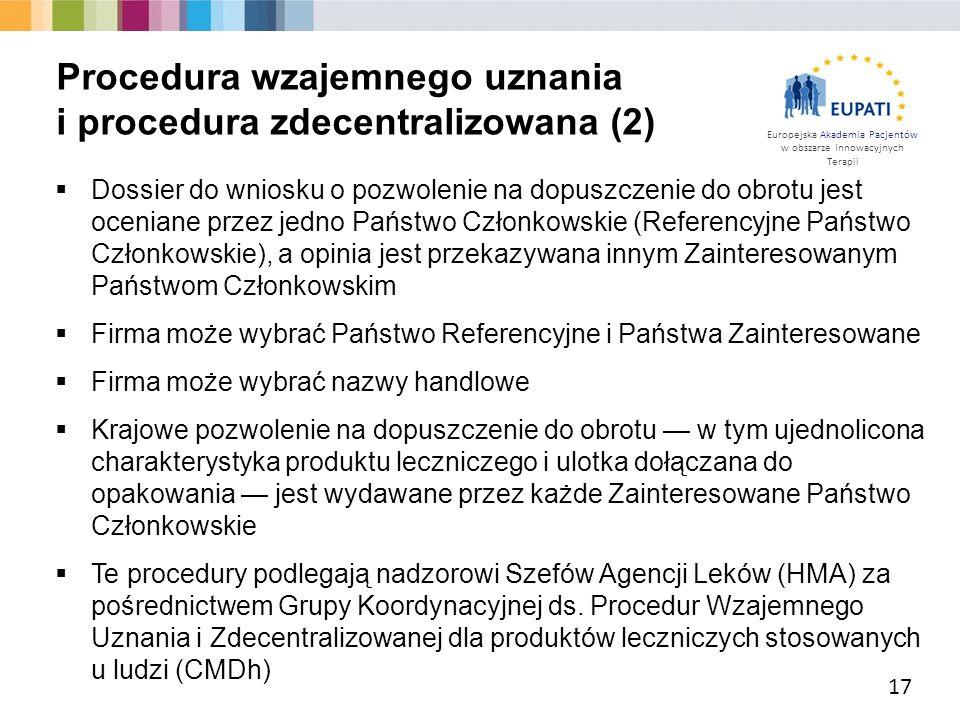 Procedura wzajemnego uznania i procedura zdecentralizowana (2)