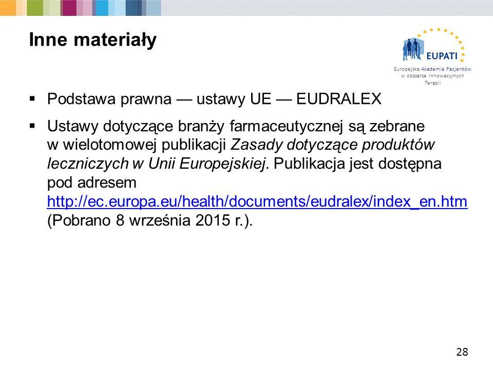 Inne materiały Podstawa prawna — ustawy UE — EUDRALEX