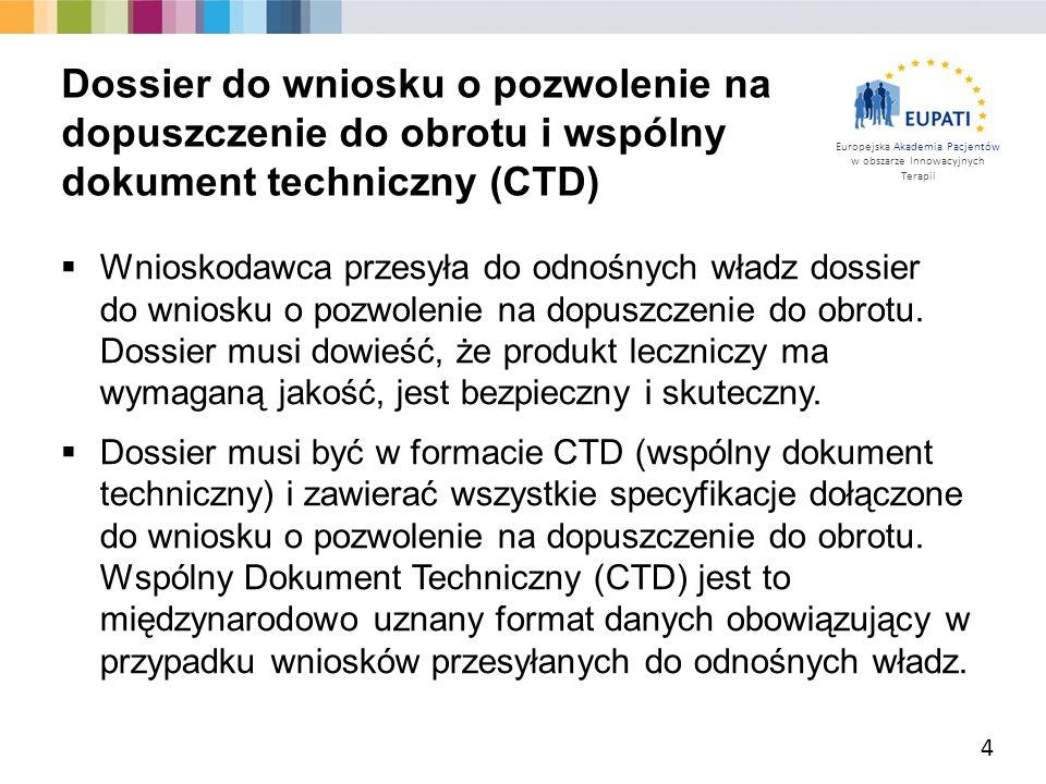 Dossier do wniosku o pozwolenie na dopuszczenie do obrotu i wspólny dokument techniczny (CTD)