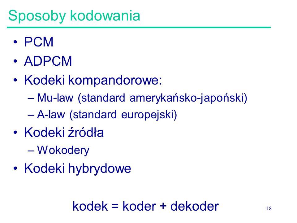 Sposoby kodowania PCM ADPCM Kodeki kompandorowe: Kodeki źródła