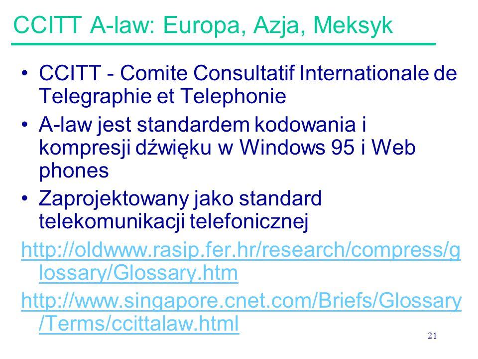 CCITT A-law: Europa, Azja, Meksyk