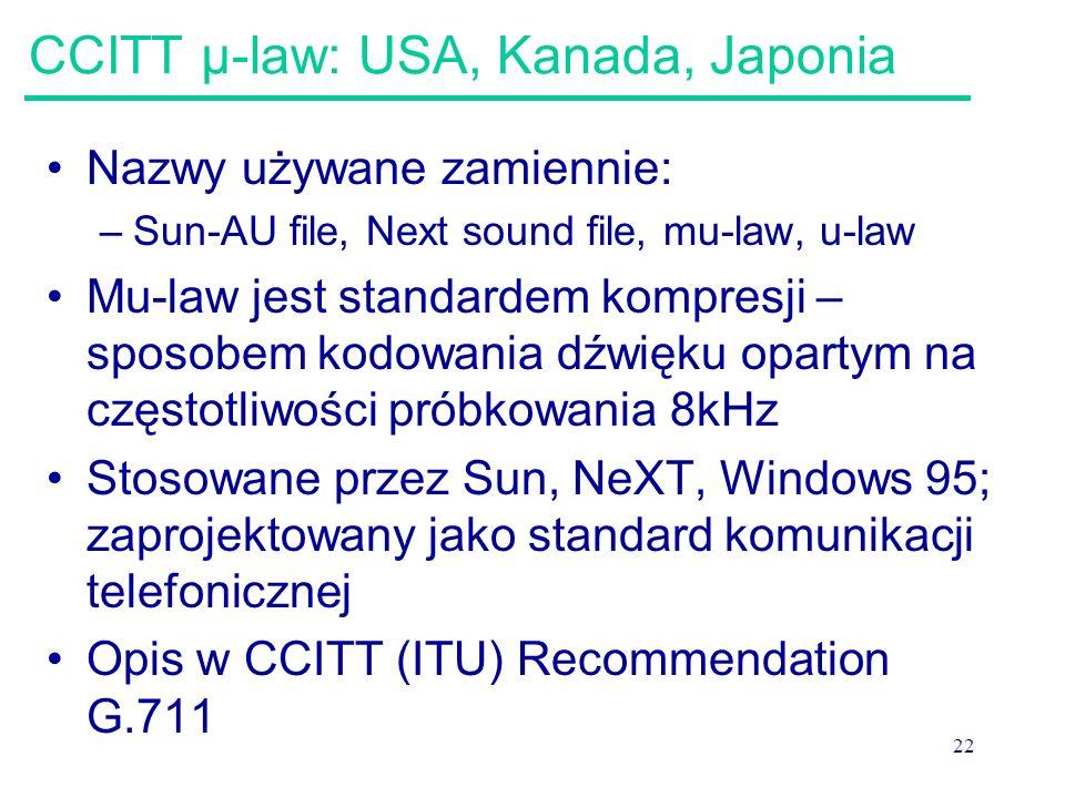 CCITT μ-law: USA, Kanada, Japonia