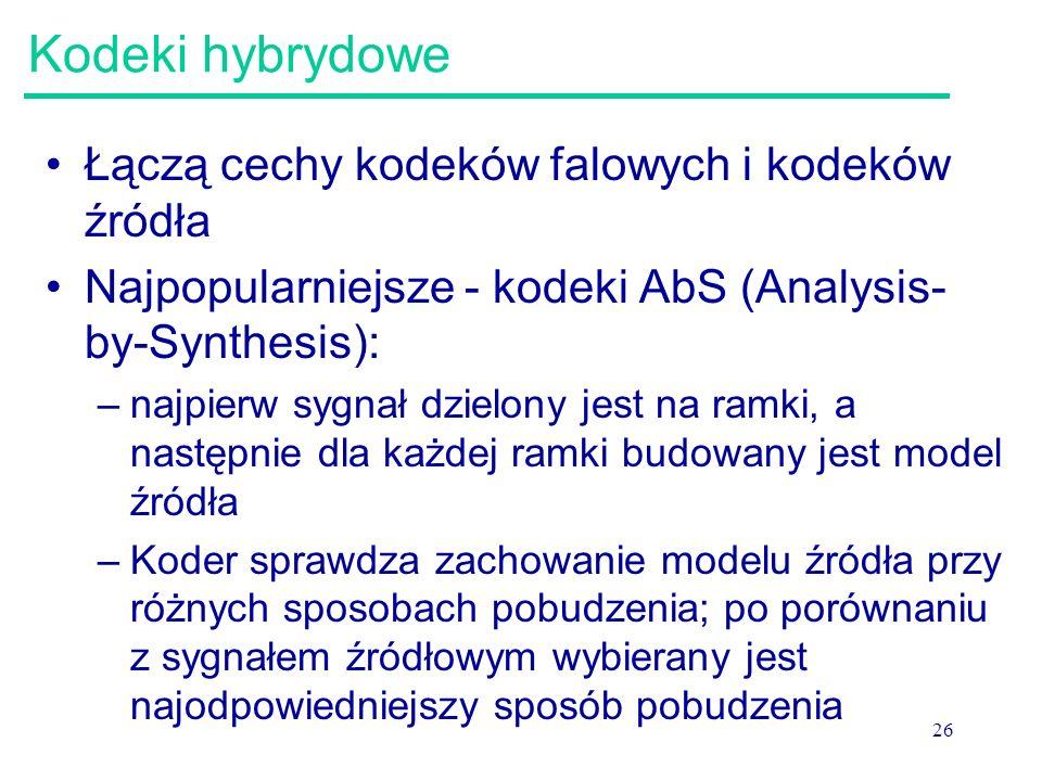 Kodeki hybrydowe Łączą cechy kodeków falowych i kodeków źródła
