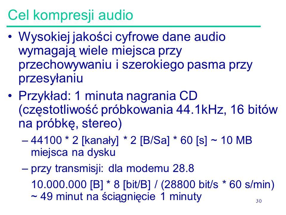 Cel kompresji audio Wysokiej jakości cyfrowe dane audio wymagają wiele miejsca przy przechowywaniu i szerokiego pasma przy przesyłaniu.